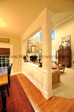 Photo: (After) Allocca's Breakfast room half wall with square pillars and beam Collegeville, PA