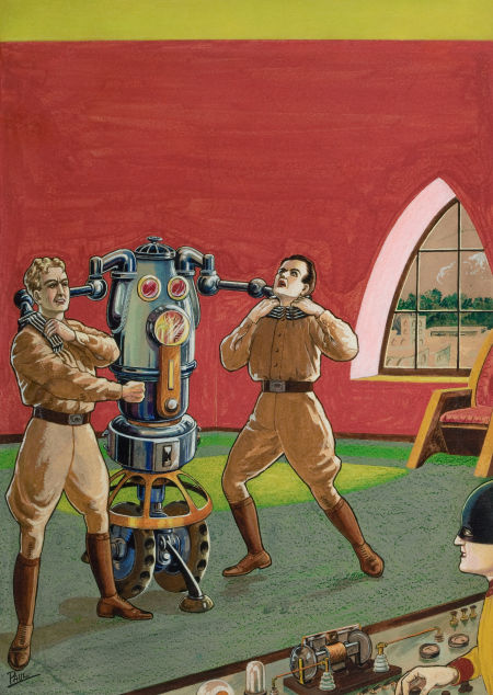 "Photo: Frank R. Paul Wonder Stories pulp cover, August 1930 Gouache and watercolor on board 24"" x 17"" http://fineart.ha.com/c/item.zx?saleNo=5087&lotNo=78068"