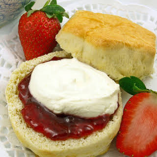 Enjoy Traditional Cornish Splits with Clotted Cream and Strawberry Jam.