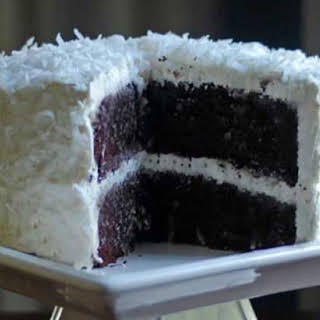 Chocolate Coconut Cake With Coconut Meringue Buttercream Frosting.