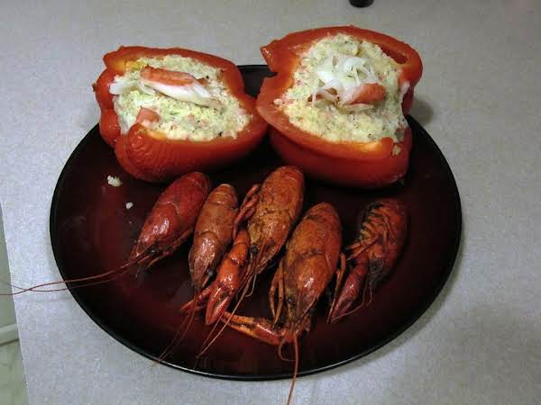 Baked Seafood Stuffed Red Bell Peppers And Crawdads!