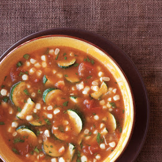 Tomato, Zucchini & Fresh Corn Soup.
