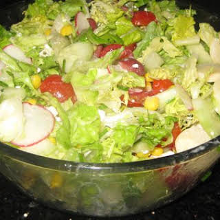 Vegetable Salad With Creamy Oregano Dressing.