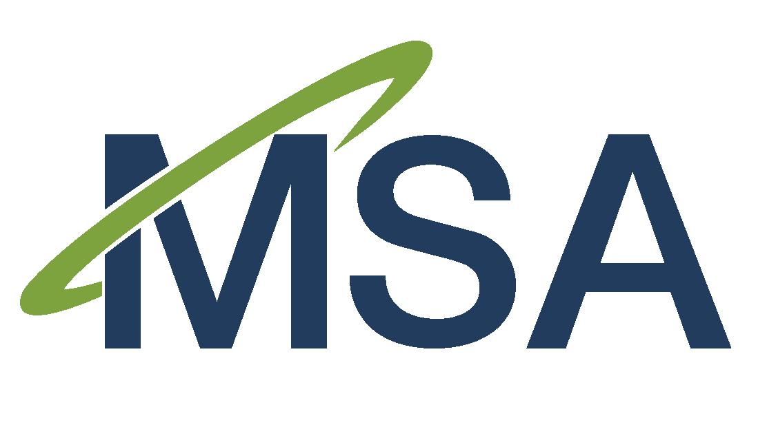 "Dark blue My Secure Advantage logo ""MSA"" with green halo"