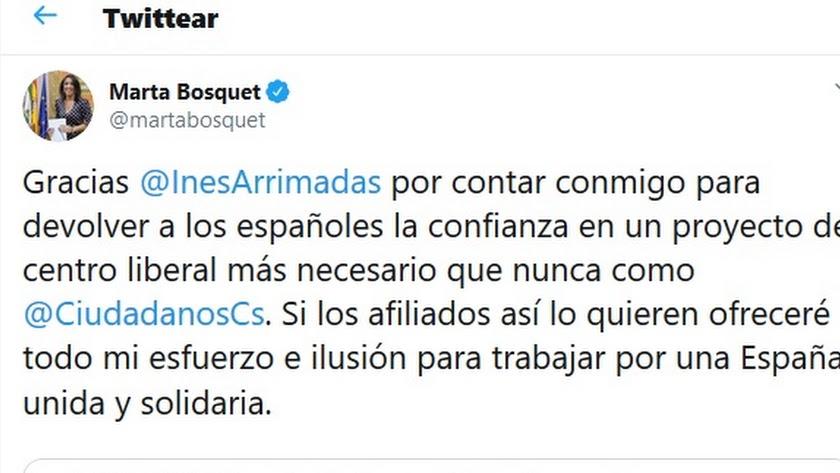 Tuit anoche de Marta Bosquet.