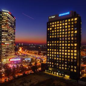 Bucharest blue hour by Adrian Mitu - City,  Street & Park  Skylines