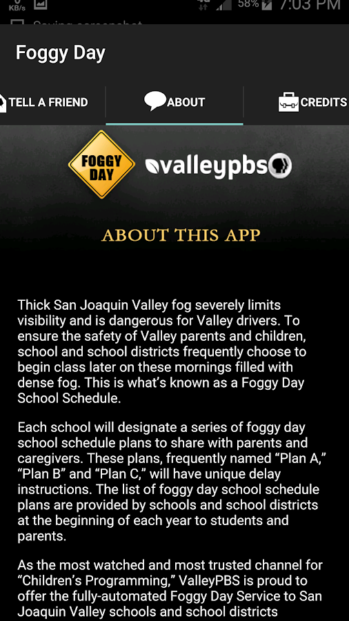 Fog Delay Schedule- screenshot