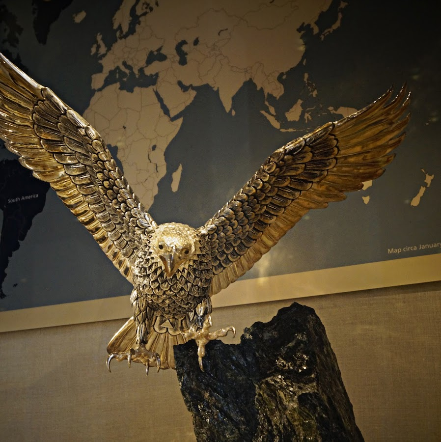 Presidential Eagle by Donald Henninger - Artistic Objects Other Objects ( president, flying, gift, eagle, dallas, sony alpha, library, gold )