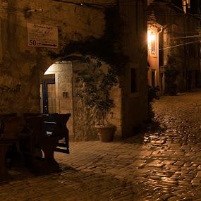 by Dušan Gajšek - City,  Street & Park  Night ( hrvaška, _mesta, noč, neobičajno okolje, rovinj )