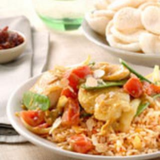 Indische Groente- En Viscurry Met Amandelrijst