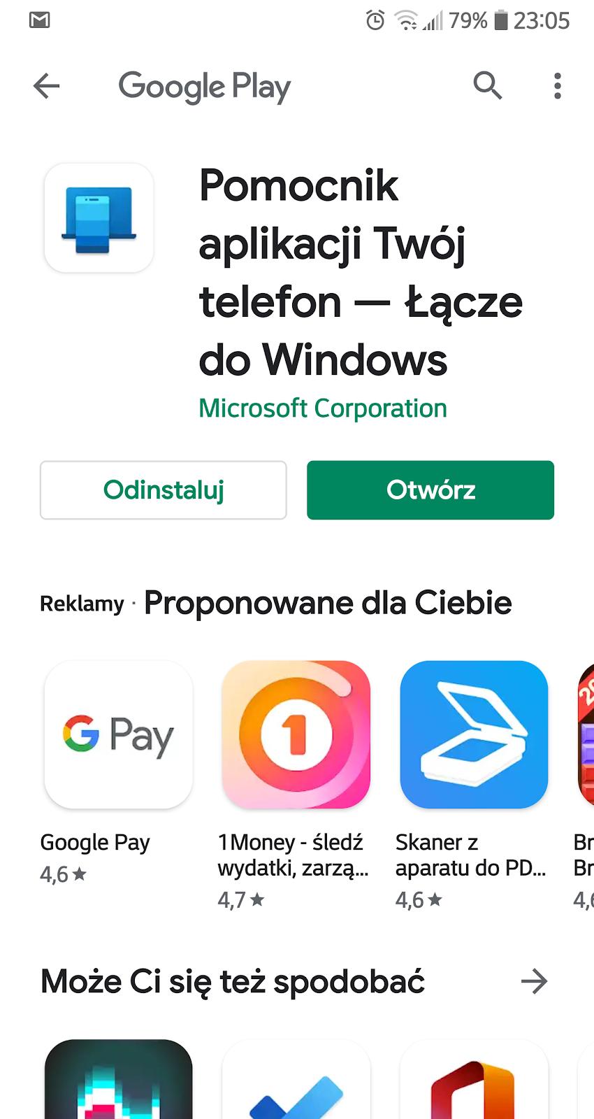 pomocnik aplikacji Twój telefon Windows
