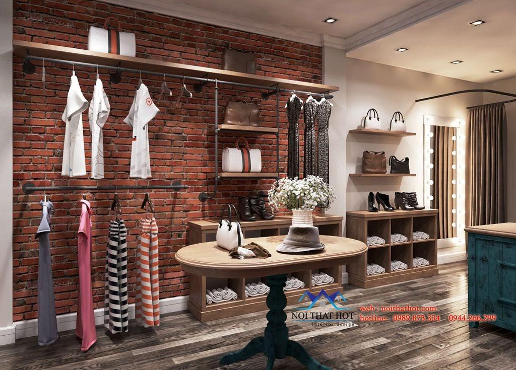 thiết kế shop thời trang với gạch chỉ đỏ và gỗ mdf nâu