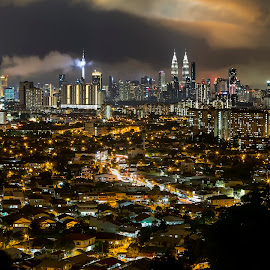 KL Night  by Coolvin Tan - City,  Street & Park  Night ( nightscape, cityscape, light trails, clouds, landscape )