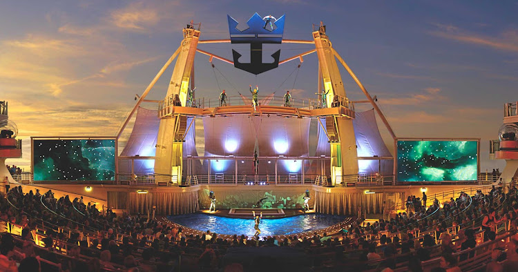 Catch some high-wire performances in the Aqua Theater during your Royal Caribbean sailing.