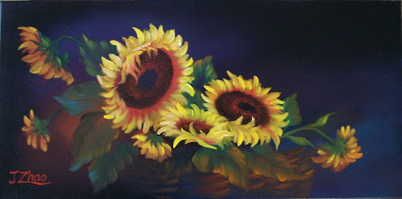 """Photo: 3. Basket of Sunflowers. 12 x 24"""" oil on canvas. $299.00"""