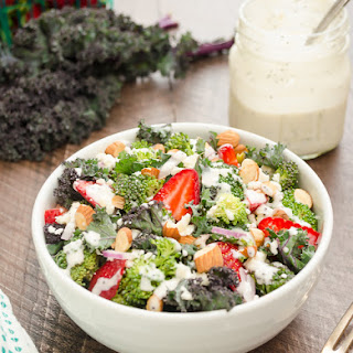 Broccoli Kale Salad with Greek Yogurt Poppy Seed Dressing