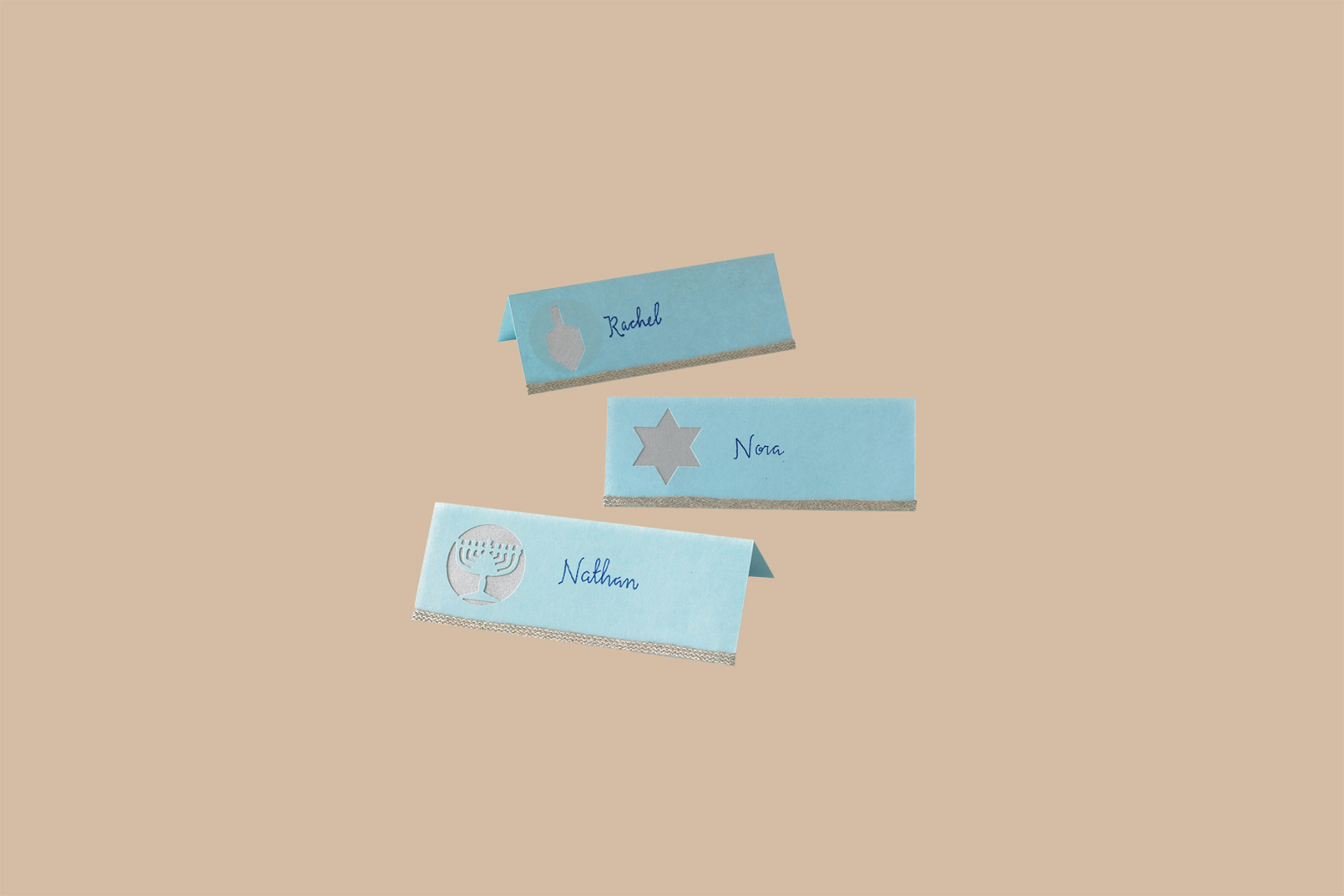 3 personalized Hanukkah place cards