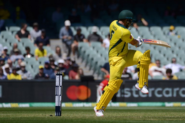 Australia's captain Aaron Finch bats during the second one day international cricket match between Australia and South Africa at the Adelaide Oval in Adelaide on November 9, 2018.