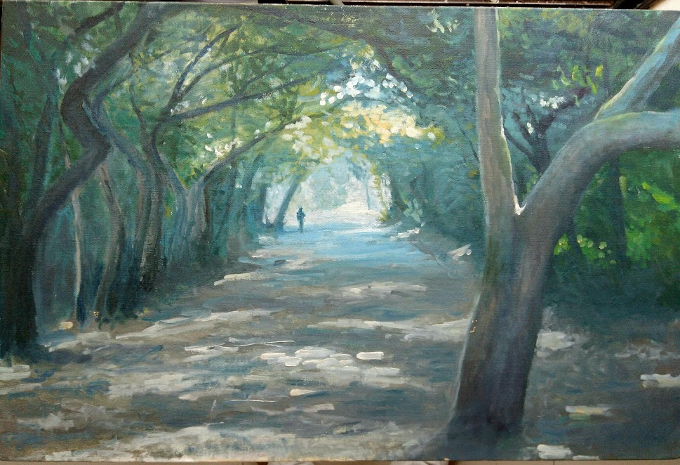 Oil on canvas Mahabaleshwar road in daylight