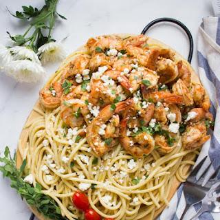 Quick Shrimp Pasta with Garlic Feta Sauce.