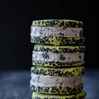 Black Sesame and Green Tea Ice Cream Sandwiches