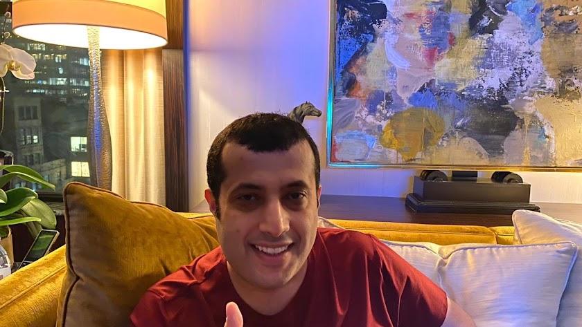 La última foto del presidente del Almería desde EEUU.