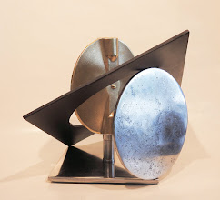 Photo: LUNAR BUTTERFLY -11H X 17W X 14D Found Object (Reclaimed Butterfly Valve Bronze Disc), Stainless Steel, Polished and Painted Mild Steel, Interactive Kinetic, View 7