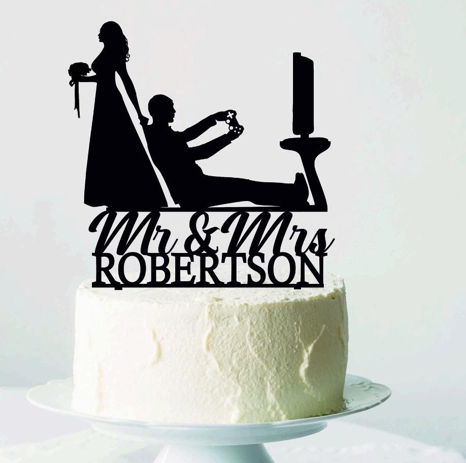 Wedding gamer funny cake topper