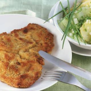 Veal Cutlet with Potatoes and Chives.