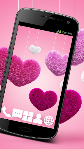 Pink Hearts GO Launcher Theme