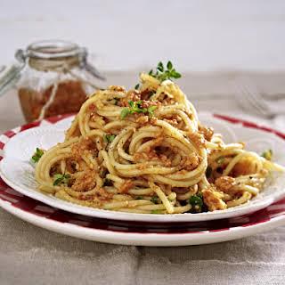 Spaghetti with Sundried Tomato Pesto.