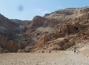 Photo: Rugged mountains just above the Qumran ruins. Scrolls were found in a number of caves in these mountains.