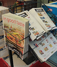 Photo: Right as we walked in there are some ads and a recipe magazine called, In Good Taste. I like the recipes they publish.