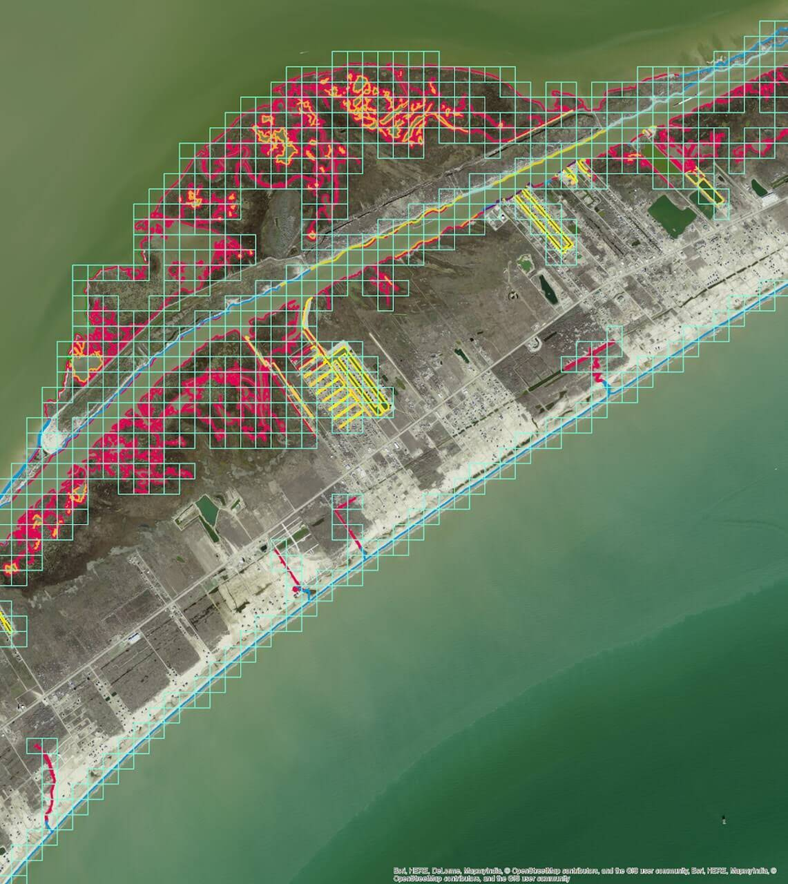 Rectified imagery overlaid with ESI shorelines and grid used to extract both imagery and shorelines.