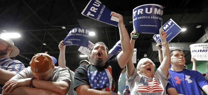 Donald Trump supporters at a campaign rally at the Greensboro Coliseum in Greensboro, N.C., Tuesday, June 14, 2016.