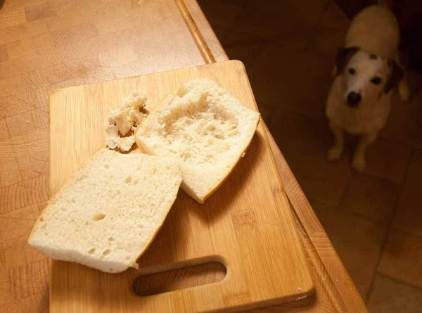 Pick out some of the bread in the bottom half, to make room for...