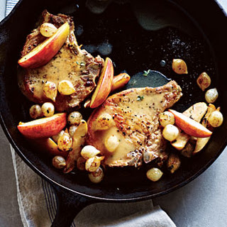 Pork Chops with Roasted Apples and Onions.