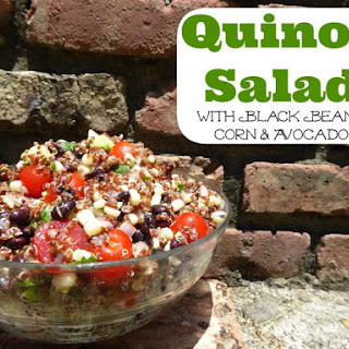 Red Quinoa Salad with Black Beans, Corn & Avocado Recipe