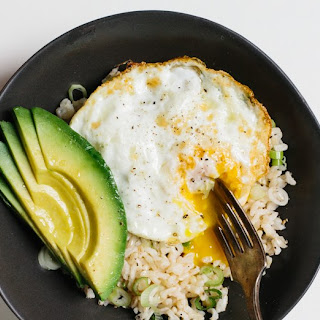 Rice Bowl with Fried Egg and Avocado.