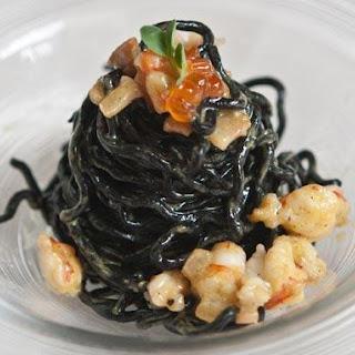 Black Ribbon Spaghetti in a Smoked Seafood Carbonara