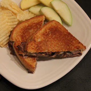 Roast Beef and Mushroom Grilled Cheese Sandwich.