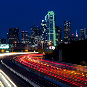City Lights by Fitz C - City,  Street & Park  Skylines ( tail light, skyline, dallas, head light, white, dusk, lights, landmark, red, blue, light trails, long exposure, freeway, downtown )