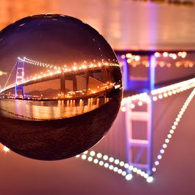 Crystal Bridge by Sean  C - Buildings & Architecture Bridges & Suspended Structures ( hong kong, ball, tsing ma brisge, crystal ball, bridge )