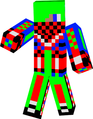 i like green blue red and white and i wana be our skin for minecraft