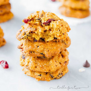 Pumpkin Oatmeal Cookies with Dried Cranberries and Chocolate Chips Recipe