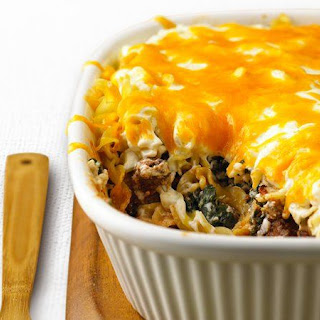 Skinny Beef and Noodle Layered Casserole.