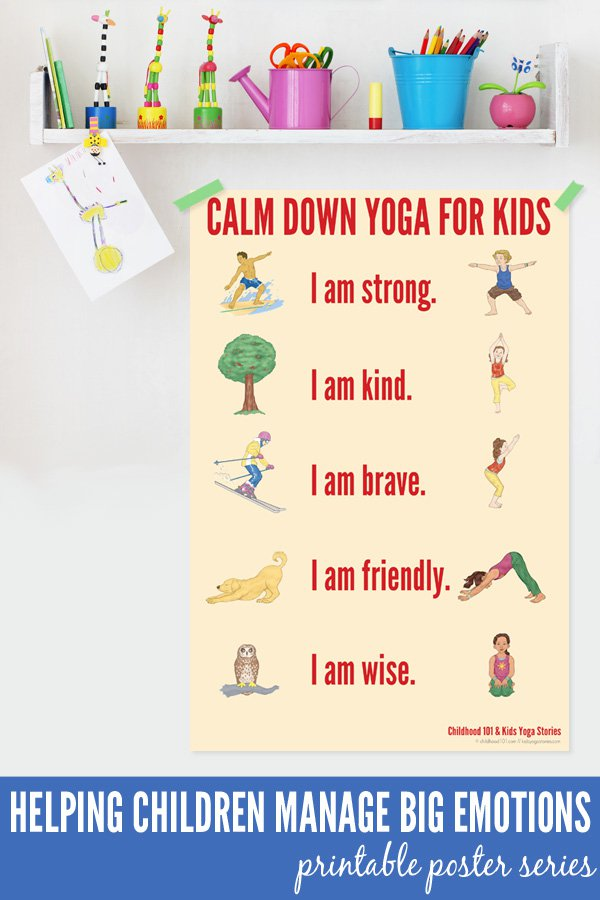 Calm Down Yoga Poses For Kids Printable Poster