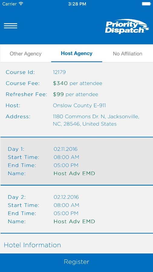 PDC Course Registration- screenshot