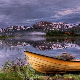 Smeddalsvatnet II by Rune Askeland - Transportation Boats ( mountains, reflections, lake, boat, morning, mist )