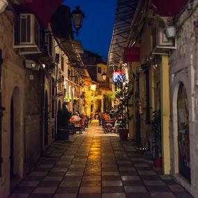 Night cafe by Valeri Bobenkov - City,  Street & Park  Street Scenes